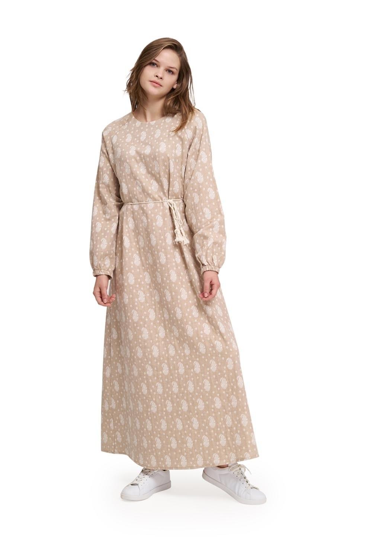 Desenli Pamuk Bej Elbise