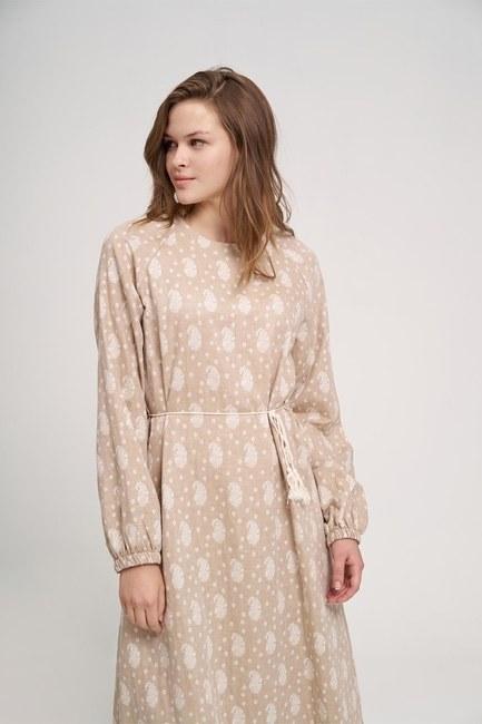 MIZALLE YOUTH - فستان من القطن المنقوش (بيج) (1)