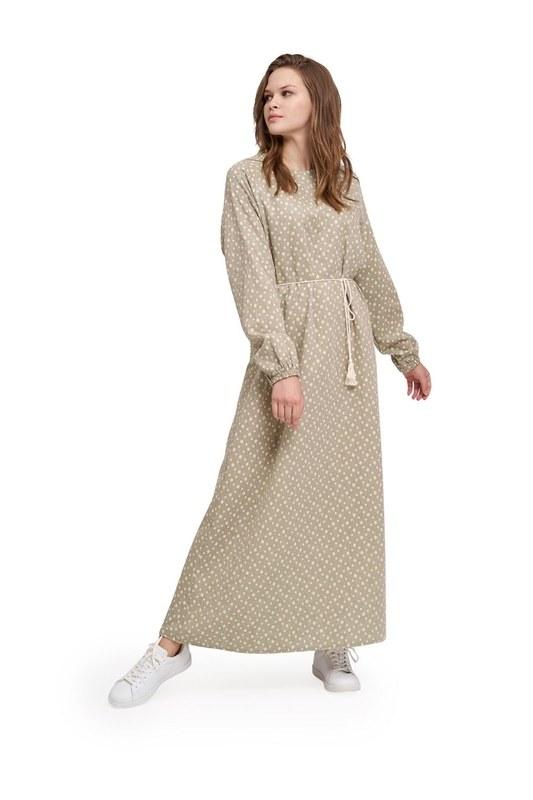 Desenli Pamuk Elbise (Haki)