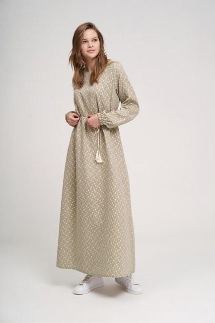 MIZALLE YOUTH - فستان من القطن المنقوش (كاكي) (1)