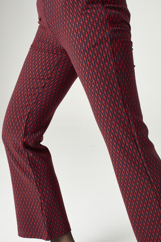 MIZALLE بنطلون منقوش (أحمر) (1)
