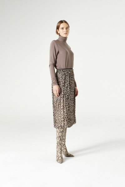 MIZALLE - Patterned Pleated Skirt (Brown) (1)