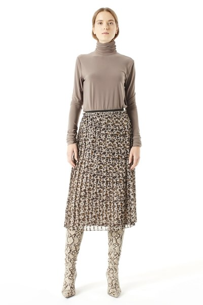 Patterned Pleated Skirt (Brown) - Thumbnail