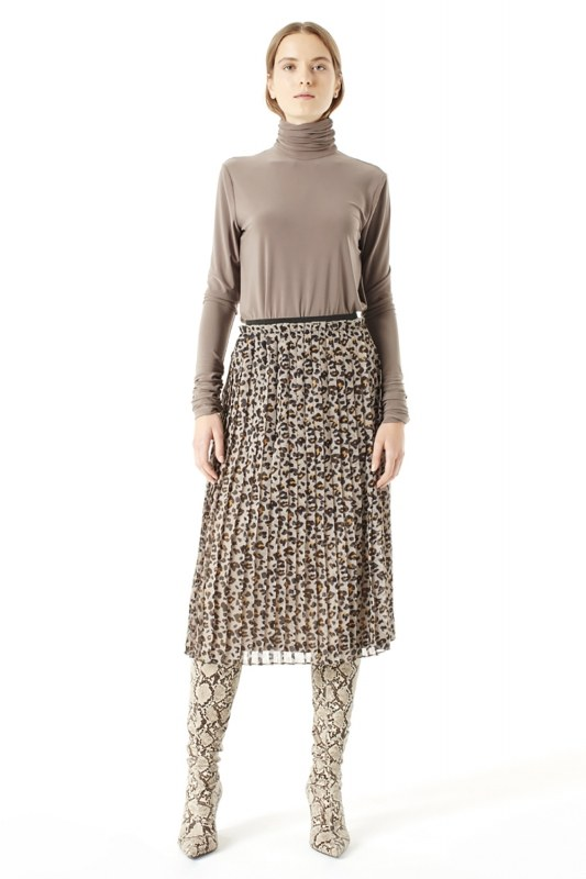 Patterned Pleated Skirt (Brown)