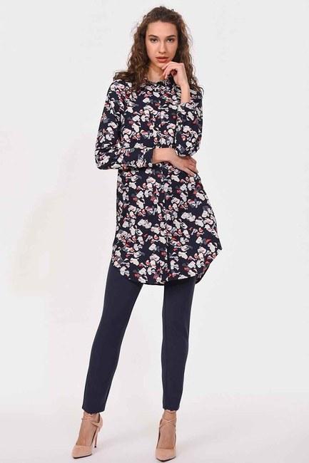 MIZALLE - Desenli Poplin Tunik Gömlek (Lacivert) (1)
