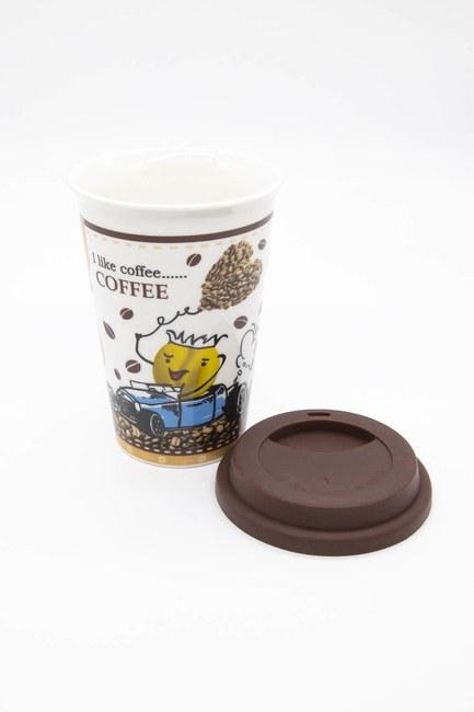 Mizalle Home - Desenli Porselen Kupa (Beyaz) (1)
