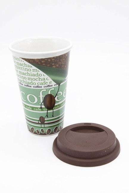 Desenli Porselen Kupa (Yeşil) - Thumbnail