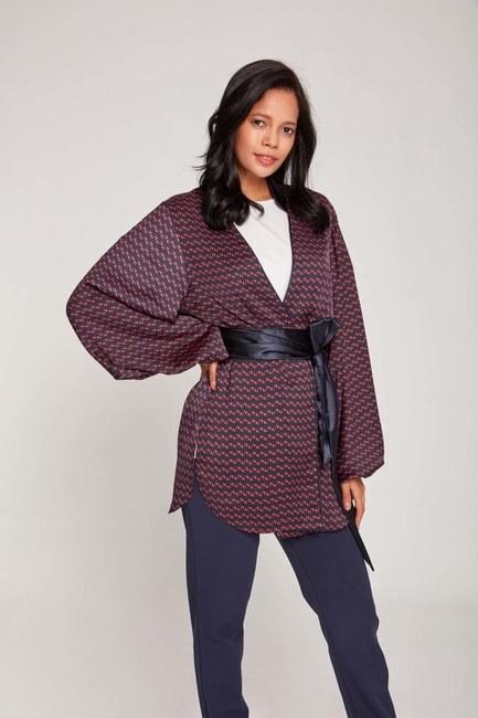 MIZALLE - Patterned Satin Kimono (Navy Blue) (1)