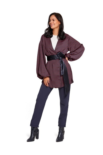 Desenli Saten Kimono (Lacivert) - Thumbnail