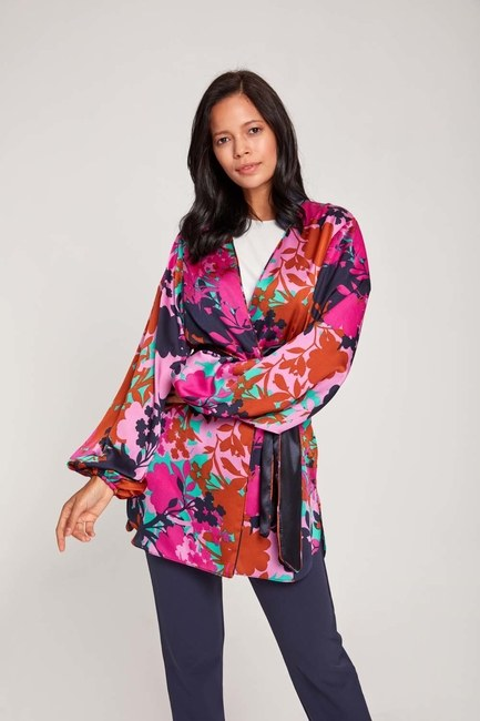 MIZALLE - Patterned Satin Kimono (Purple) (1)