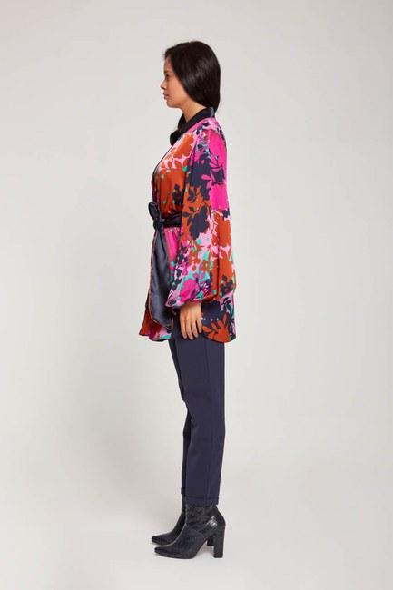 Desenli Saten Kimono (Mor) - Thumbnail