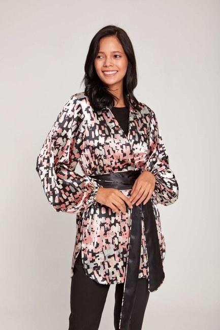MIZALLE - Desenli Saten Kimono (Pembe) (1)