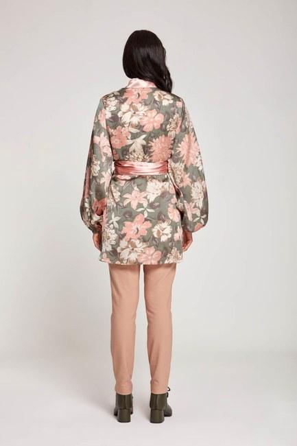 Desenli Saten Kimono (Pudra) - Thumbnail