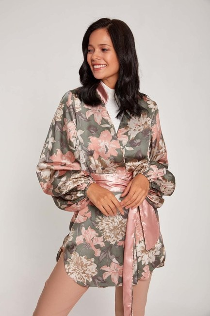 MIZALLE - Desenli Saten Kimono (Pudra) (1)