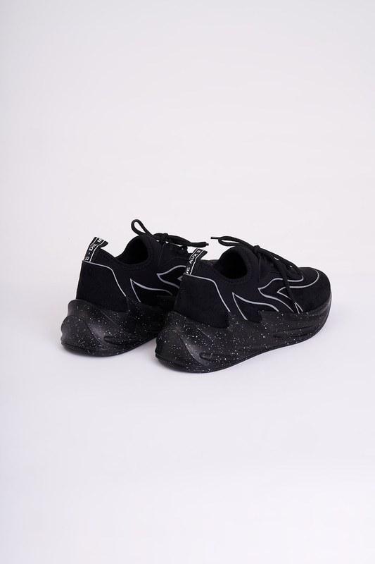 Desenli Scuba Spor Ayakkabı (Siyah)