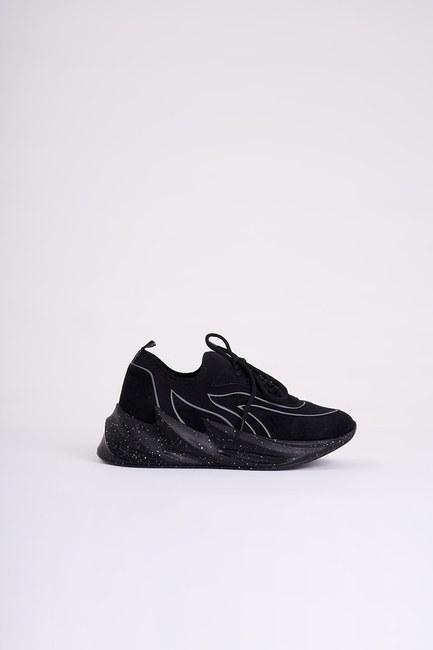 MIZALLE - Desenli Scuba Spor Ayakkabı (Siyah) (1)