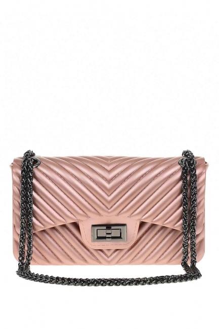 MIZALLE - حقيبة يد لينة منقوشة (الوردي) (1)
