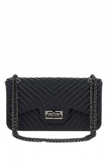 MIZALLE - حقيبة يد لينة منقوشة (أسود) (1)