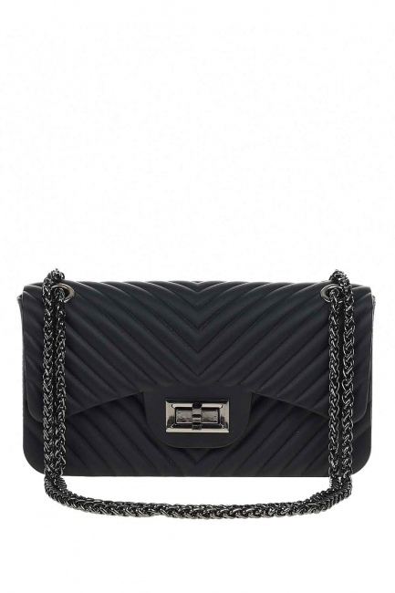 MIZALLE - Patterned Hand Bag (Black) (1)