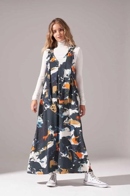 Mizalle - Desenli Tokalı Jile Elbise