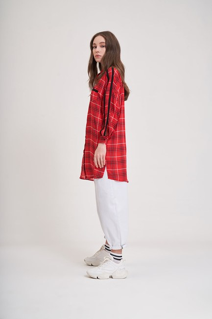 MIZALLE YOUTH - Patterned Trend Shirt (Red) (1)