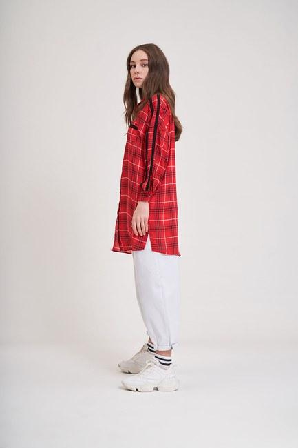 MIZALLE YOUTH - Desenli Trend Gömlek (Kırmızı) (1)