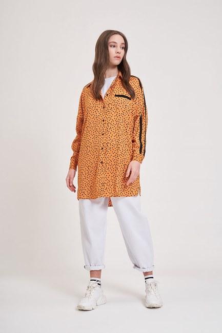 Mizalle - Desenli Trend Gömlek (Turuncu)