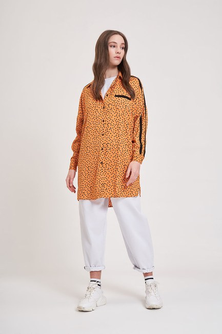MIZALLE YOUTH - Patterned Trend Shirt (Orange) (1)
