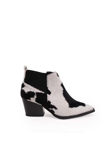 الأحذية فروي منقوشة (أسود / أبيض) - Thumbnail