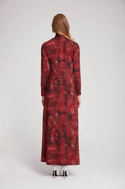 فستان فسكوز منقوش (أحمر كلاريت) - Thumbnail