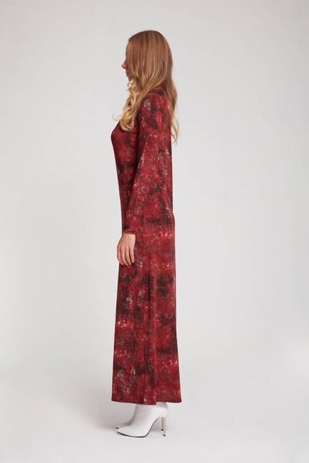 MIZALLE - Desenli Viskon Elbise (Bordo) (1)