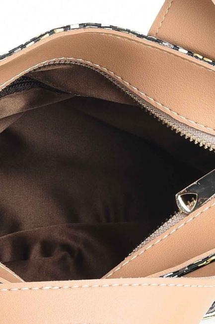 حقيبة يد متعرجة منقوشة (أسود) - Thumbnail