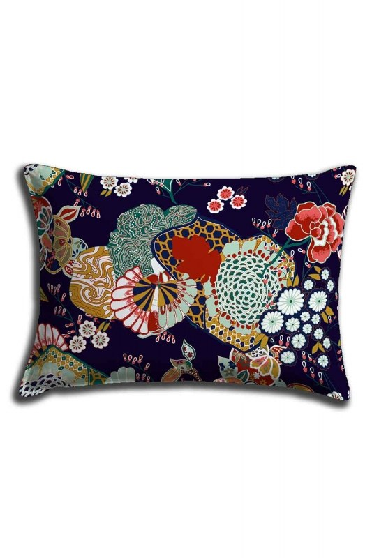 Digital Printed Flower Motives Lace Pillow Cover (30X50)