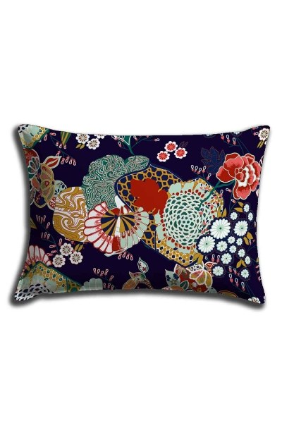 Digital Printed Flower Motives Lace Pillow Cover (30X50) - Thumbnail
