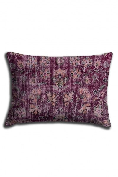 Digital Printed Violet Flower Lace Pillow Cover (30X50) - Thumbnail