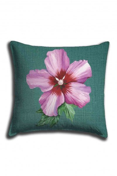 Digital Printed Pink Flower Lace Pillow Cover (44X44) - Thumbnail