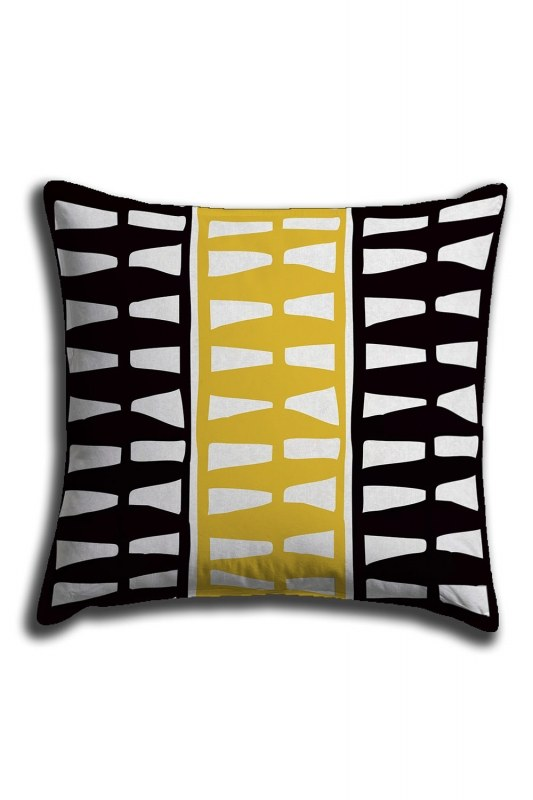 Yellow Striped Digital Printed Lace Pillow Cover (44X44)