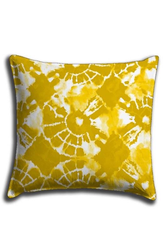 غطاء وسادة الدانتيل الرقمية المطبوعة مع نغمات صفراء(44 × 44)