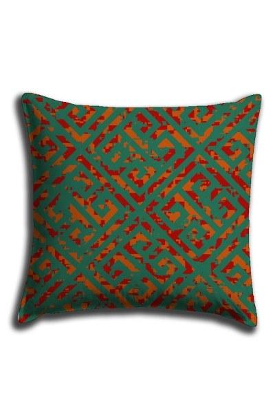 غطاء وسادة الدانتيل الرقمية المطبوعة مع الأنماط الخضراء(44 × 44) - Thumbnail