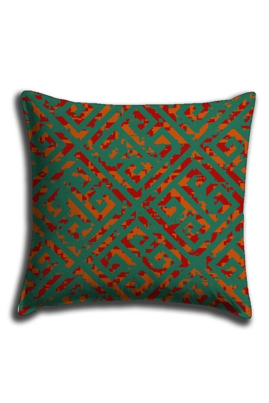 Digital Printed Green Pattern Lace Pillow Cover (44X44)