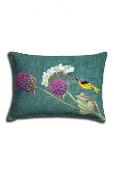 Digital Printed Green Nature Lace Pillow Cover (30X50) - Thumbnail
