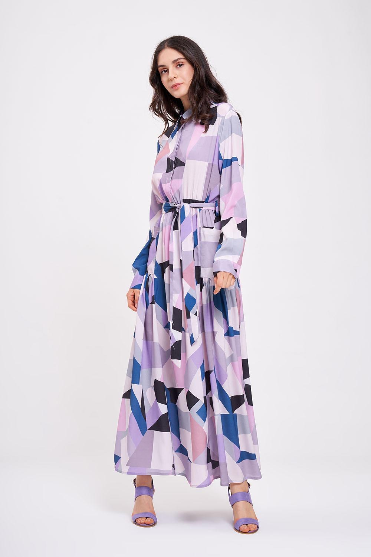Dijital Baskılı Cepli Lila Elbise