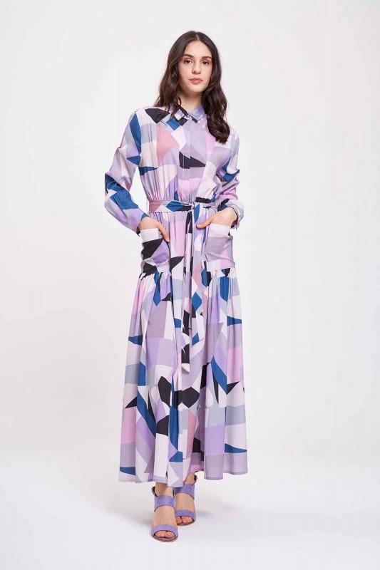 Dijital Baskılı Cepli Elbise (Lila)