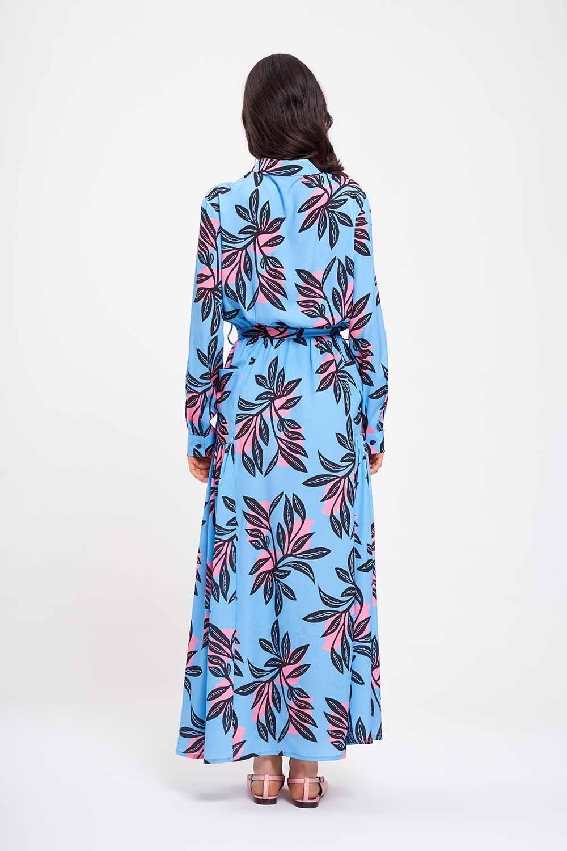 Dijital Baskılı Cepli Mavi Elbise