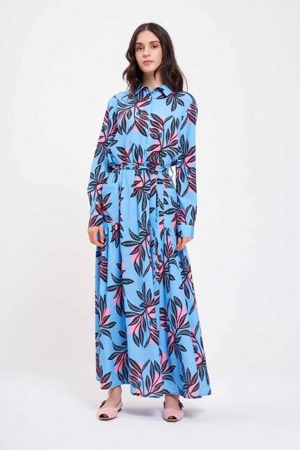 Mizalle - Dijital Baskılı Cepli Elbise (Mavi)