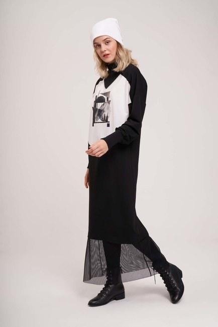 MIZALLE YOUTH - Dijital Baskılı Sweat Elbise (Siyah) (1)