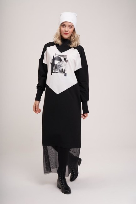 Dijital Baskılı Sweat Elbise (Siyah) - Thumbnail