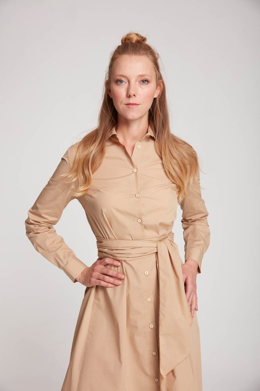 Dik Yaka Gömlek Elbise (Bej)