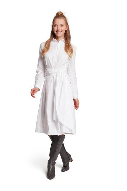 MIZALLE Dik Yaka Gömlek Elbise (Ekru)