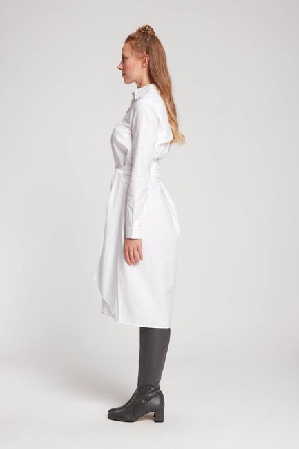 MIZALLE - Dik Yaka Gömlek Elbise (Ekru) (1)